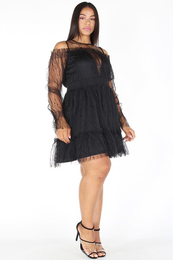 Plus Size Sheer Mesh Fit And Flare Crew Neck Dress Plussizefix