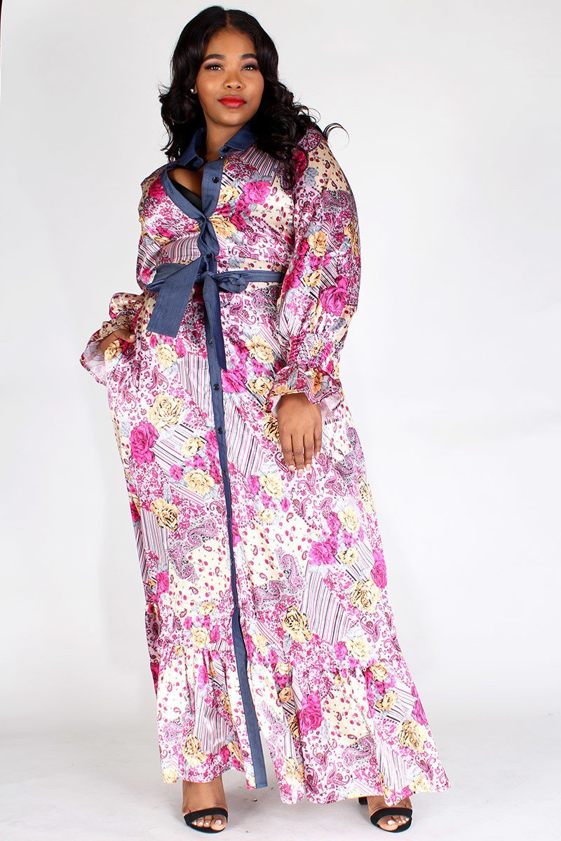 Plus Size Belted Puffy Sleeve Denim Panel Maxi Dress