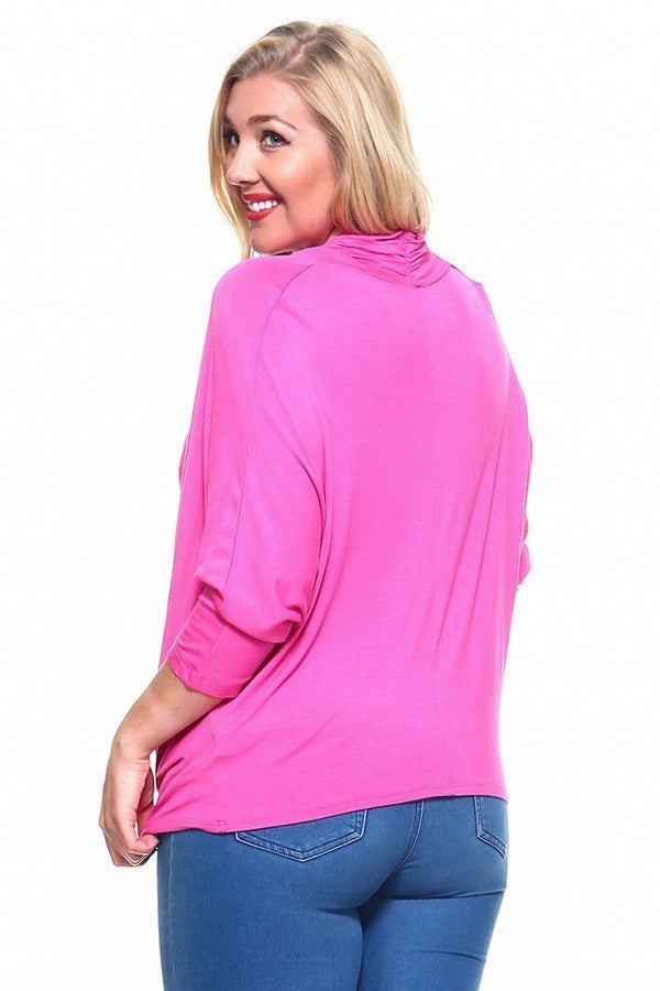 Plus Size Dolman Sleeve Cowl Neck Top