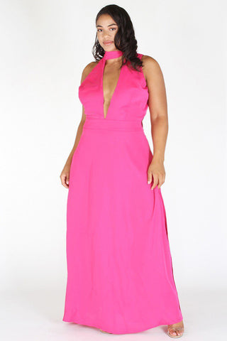 Plus Size Glam Ribbon Neck Deep V Maxi Dress [PRE-ORDER 25% OFF]