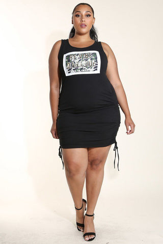 Plus Size Ruching Tank Camo Patched Dress