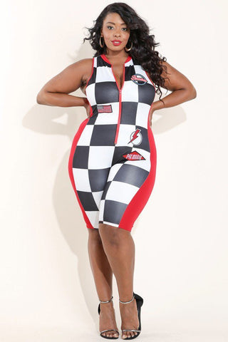 Plus Size Large Checker Patched Biker Romper