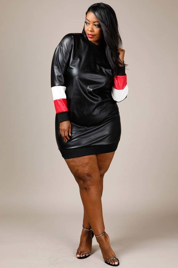 Plus Size Colorblock Faux Leather Shirt Dress Plussizefix