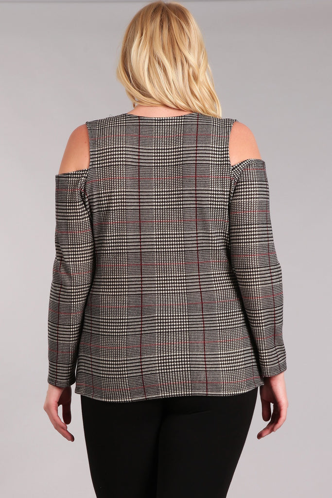 Plus Size Plaid Waist Length Wrapped Top