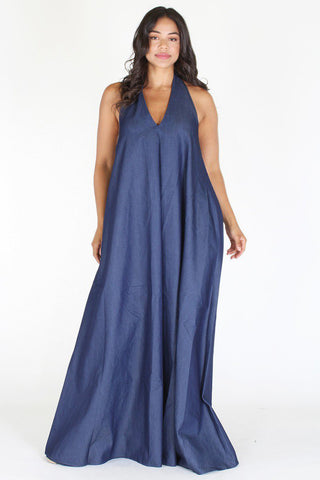 c94b43f481a Plus Size Denim Slay Goddess V Neck Maxi Dress  SALE  ...