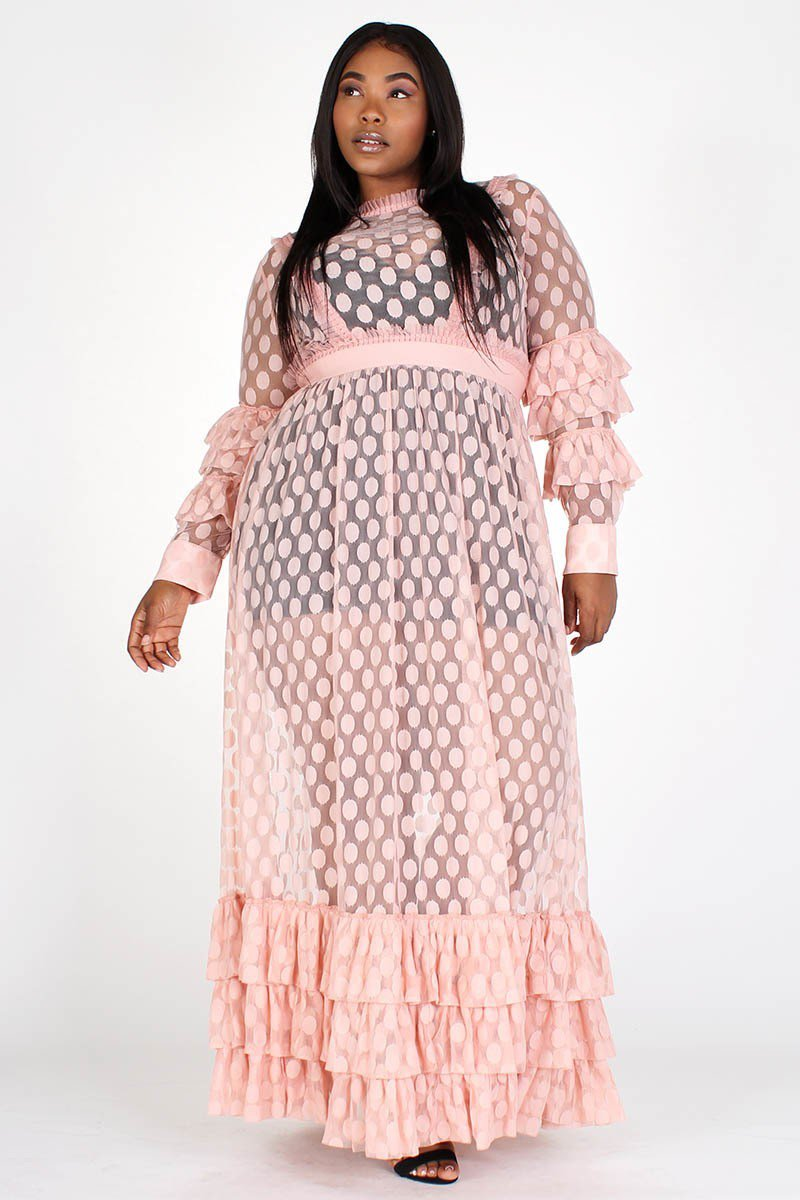 Plus Size Polka Dot Flare Ruffle Sleeve Maxi Dress