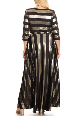 Plus Size Shimmering Gold Stripe Waist Tie Long Sleeve Maxi Dress