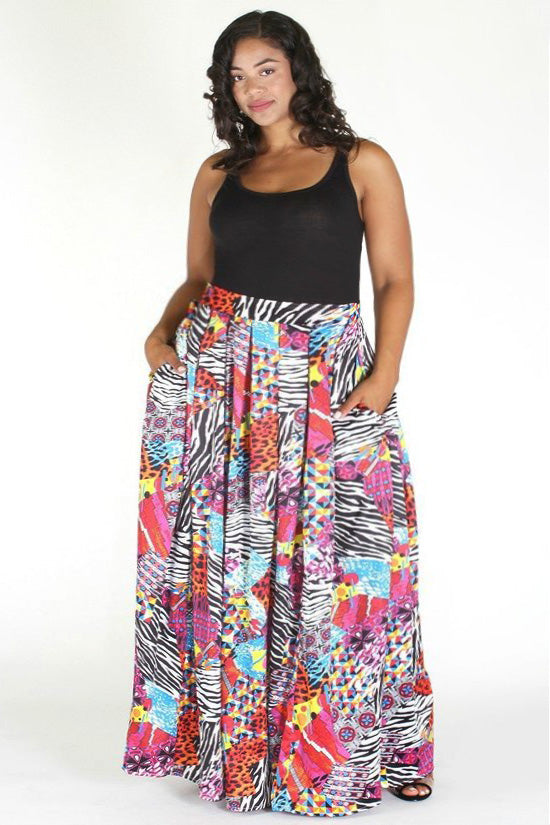 b55e57bca5e4c Plus Size Pocketed Multi Color Relaxed Waistband Pleated Skirt ...