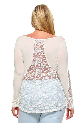 Plus Size Round Neck Lace Detail Back Bodice Top