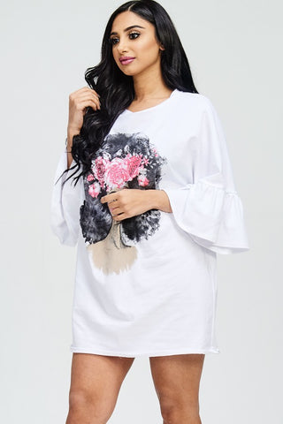 Plus size screen print ruffled sleeve tunic with stones