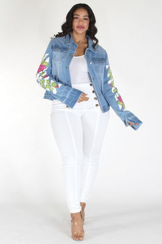 Plus Size Trendy Girl Rose Art Denim Jacket [PRE-ORDER 25% OFF]