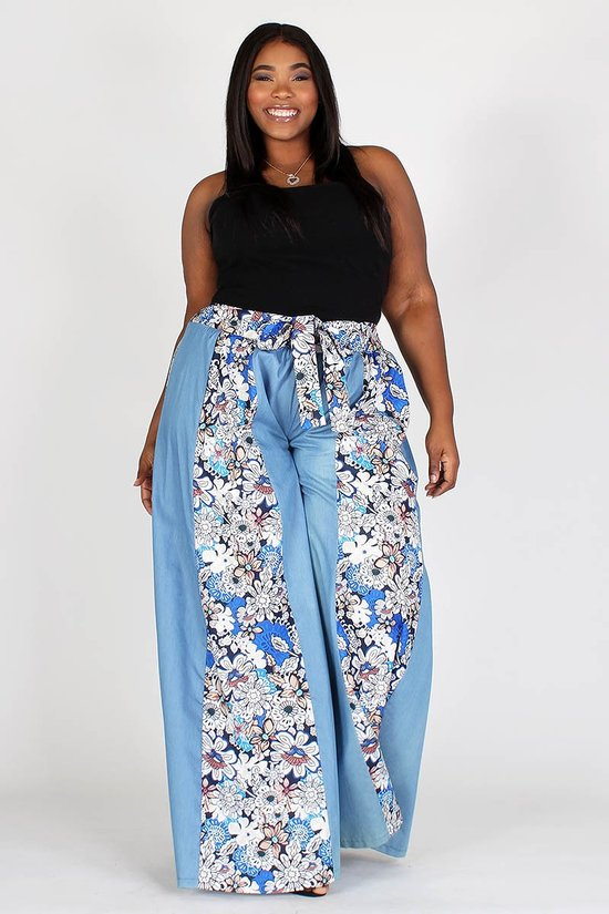 Plus Size Chambray Contrast Floral Print High Waist Pants