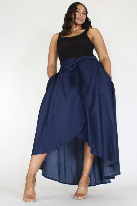 42e1d6b03ea Plus Size Denim High Waist Relaxed Maxi Skirt – Plussizefix