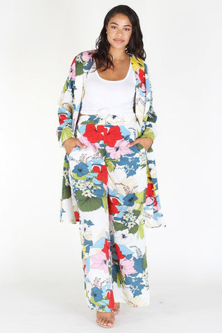 Plus Size Lovely Floral Flow Cardigan & Pants Set [PRE-ORDER 25% OFF]