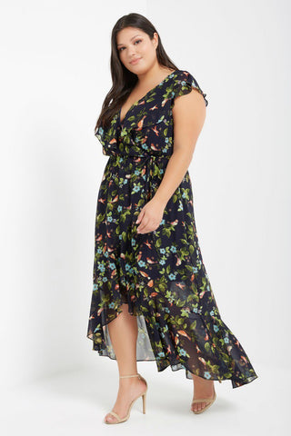 Plus Size Navy Maxi  Floral Garden Tulip Dress