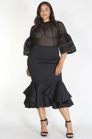 Plus Size Glam Shadow Stripe Bodice Techno Dress