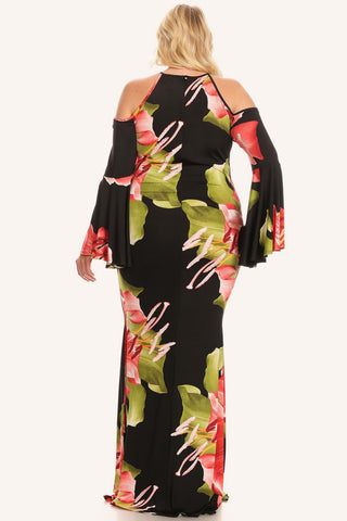 Plus Size Floral Bell Sleeve Off Shoulder Maxi Dress