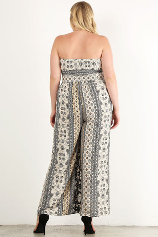 Plus Size Sexy Chakra Strapless Relaxed Jumpsuit