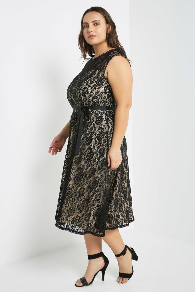 Plus Size Solid Floral Lace Overlay Skater Dress