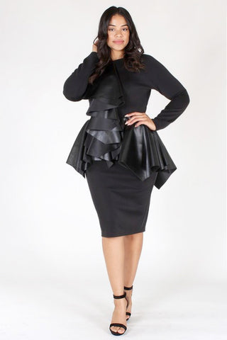 Plus Size City Girl Ruffle Accent Peplum Dress [PRE-ORDER 25% OFF]