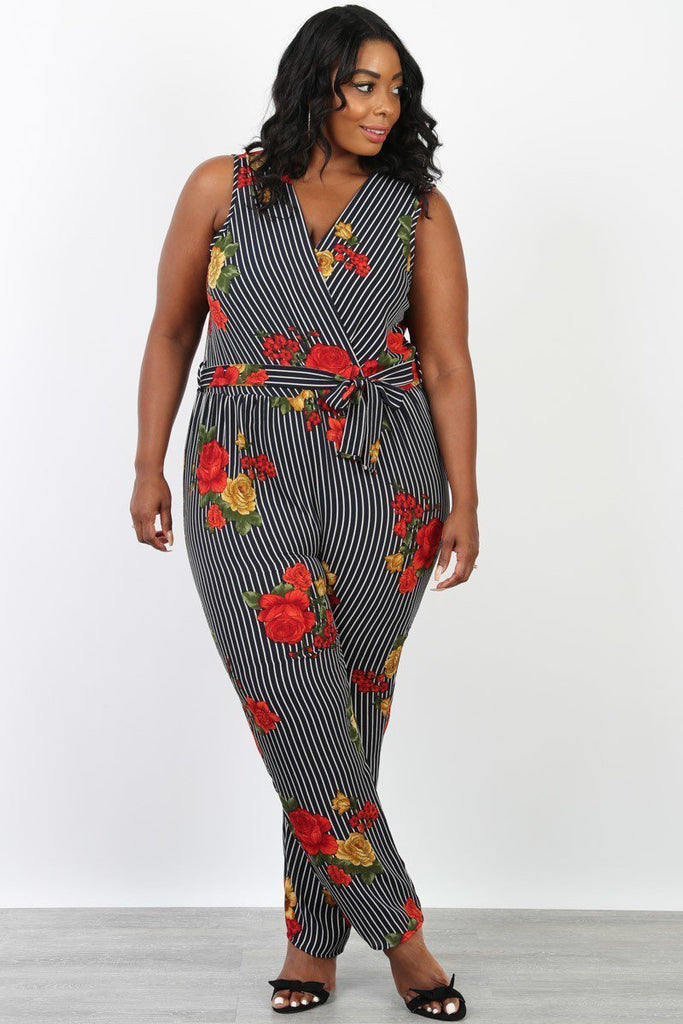Plus Size Floral Woven Stripe Self Tie Jumpsuit