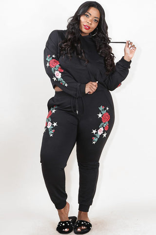 Plus Size Embroidered Rose Tattoo Cozy Hoodie Set