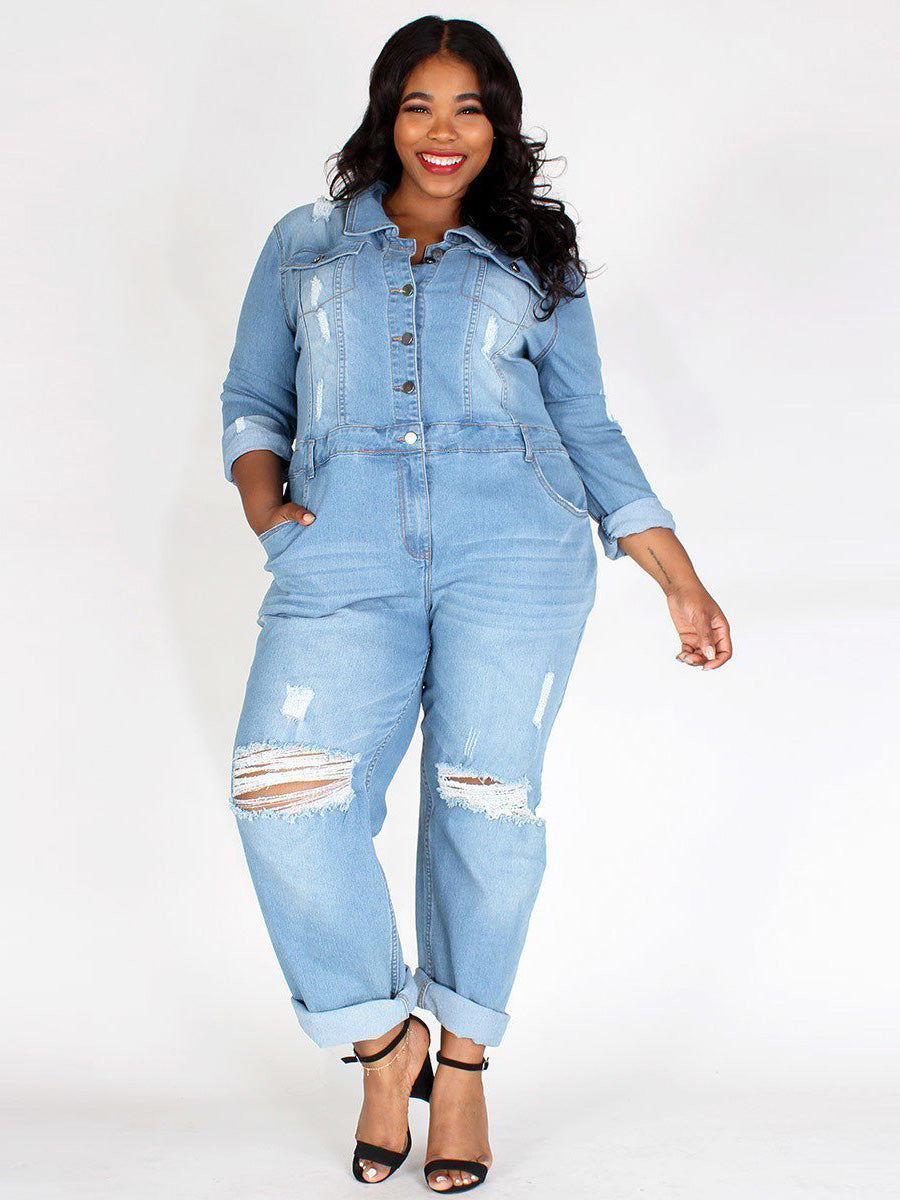 Plus Size Light Denim Relaxed Fit Rolled Collar Jumpsuit