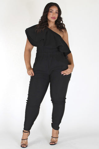Plus Size One Shoulder Pocketed Flounce Jumpsuit