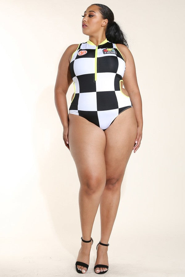 Plus Size Large Checker Polyester Bodysuit Top