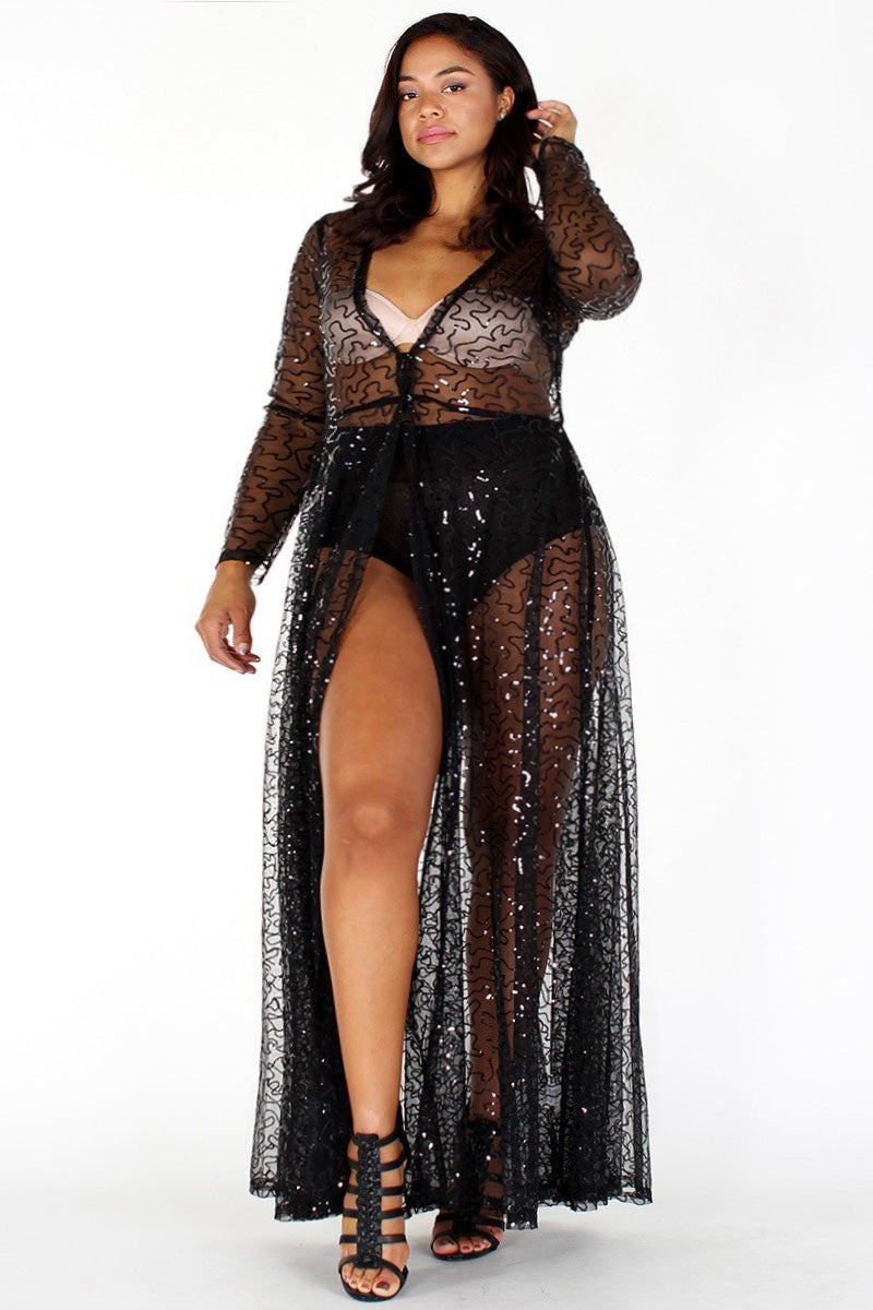 Plus Size Shimmering Sheer Sequin See Through Maxi Dress ...