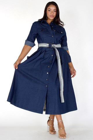 Plus Size Button Up Denim Rolled Collar Maxi Dress
