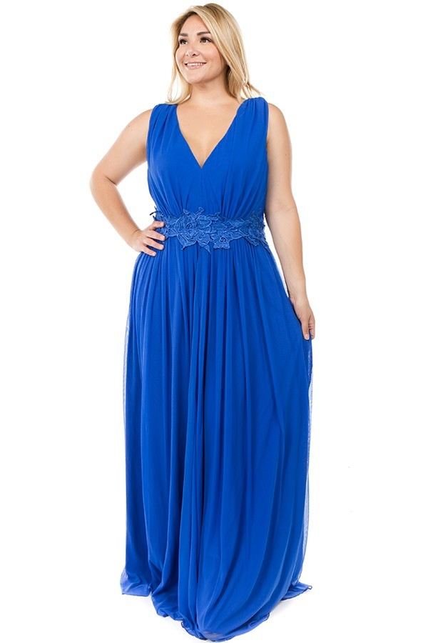 Plus SIze Crochet Gathered Mesh Maxi dress