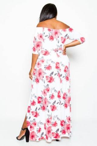 Plus Size Floral Glory Open Front Maxi Dress