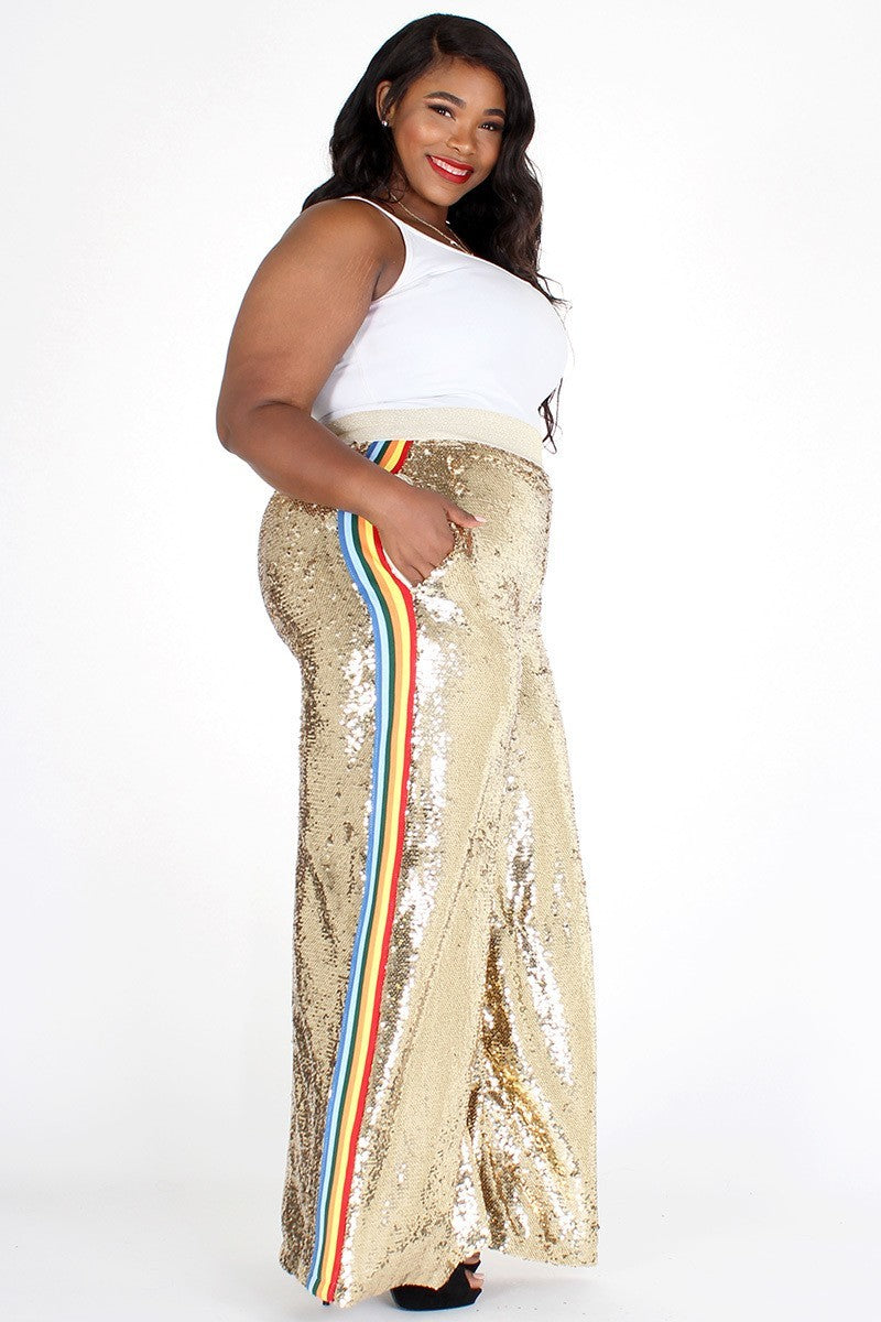 Plus Size Sparkling Sequin Color Stripe Wide Pants