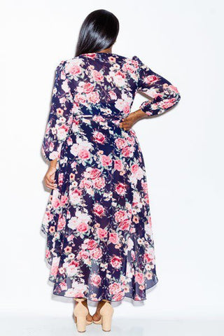 Plus Size Summer Breeze Floral Flowy Wrap Dress
