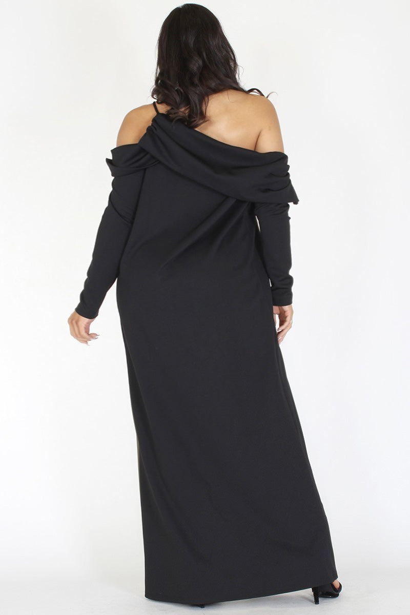 Plus Size Off Shoulder Fold Over Layer Dress Top