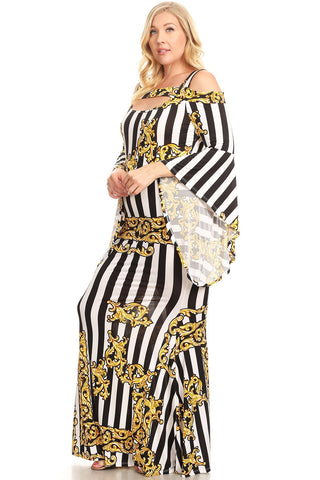 Plus Size Stripes and Damask Printed Maxi Dress