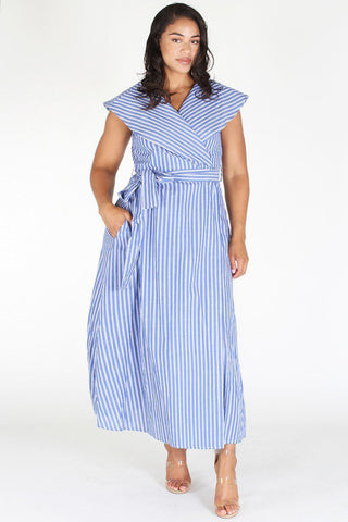 Plus Size Shawl Collar Ribbon Tie Stripe Maxi Dress