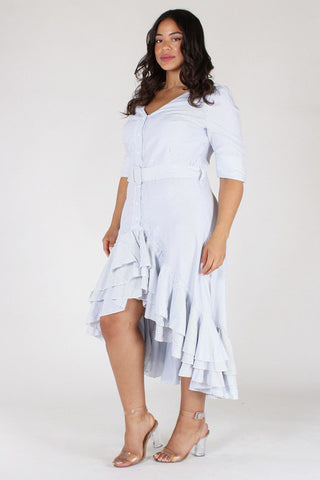 Plus Size Striped Sweetheart Ruffled Skirt Belted Dress [PRE-ORDER 25% OFF]