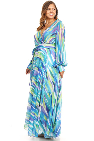 Plus Size Abstract Fit Flare Puff Sleeve Maxi Dress