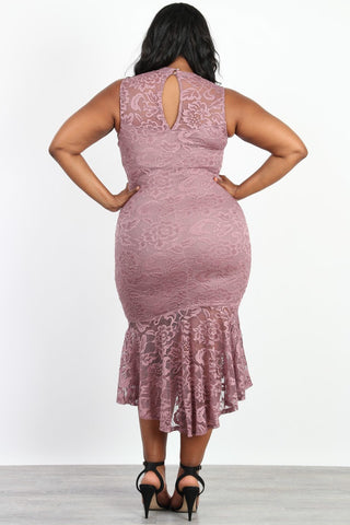 Plus Size Hi-Low Hem Mermaid Sleeveless Dress