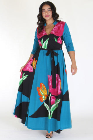 Plus Size Butterfly Tropical Ribbon Tie Maxi Dress