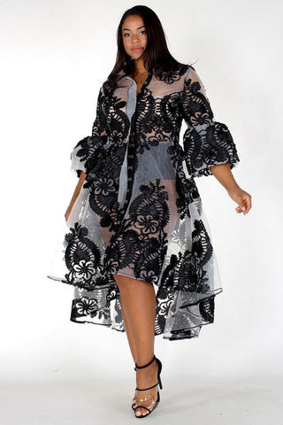 Plus Size Glamorous Embroidered Button Coat