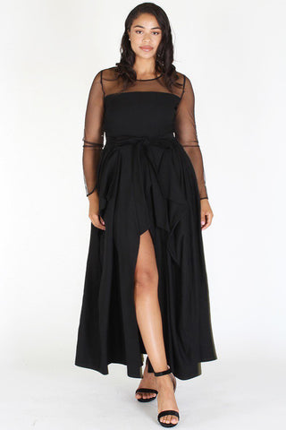 Plus Size Beautiful See Through Accented Draped Cocktail Dress [PRE-ORDER 25% OFF]