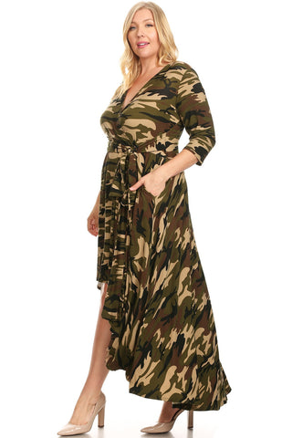Plus Size Waist Tie V-Neck Camo Fit Maxi Dress