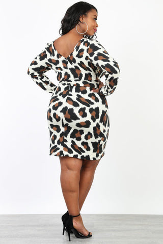 Plus Size Cutie Animal Print V Neck Dress