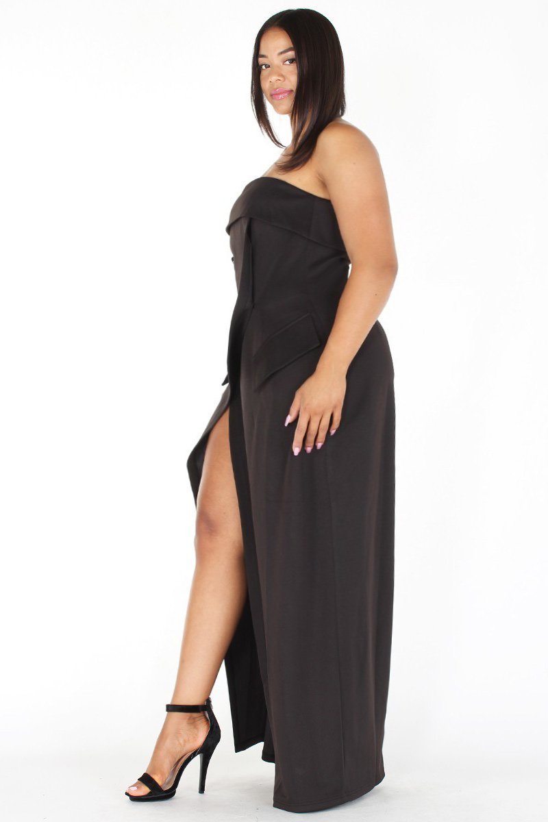 Plus Size Strapless Button Trim Front Slit Dress