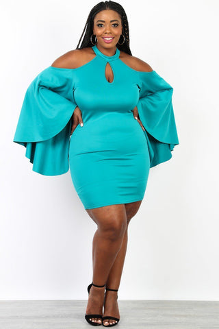 Plus Size Glam Off Shoulder Angel Sleeve Dress