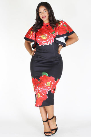 Plus Size Floral Flutter Shoulder Bodycon Dress Black [SALE]