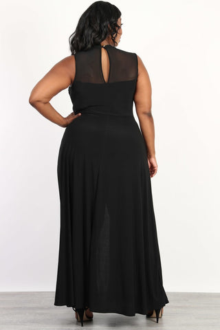 Plus Size Flowy Open Slit Maxi Romper Dress